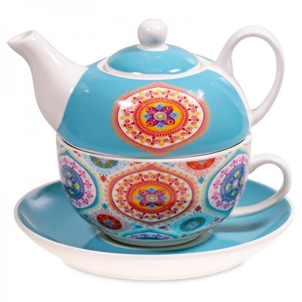 Tea for One Mandala blau
