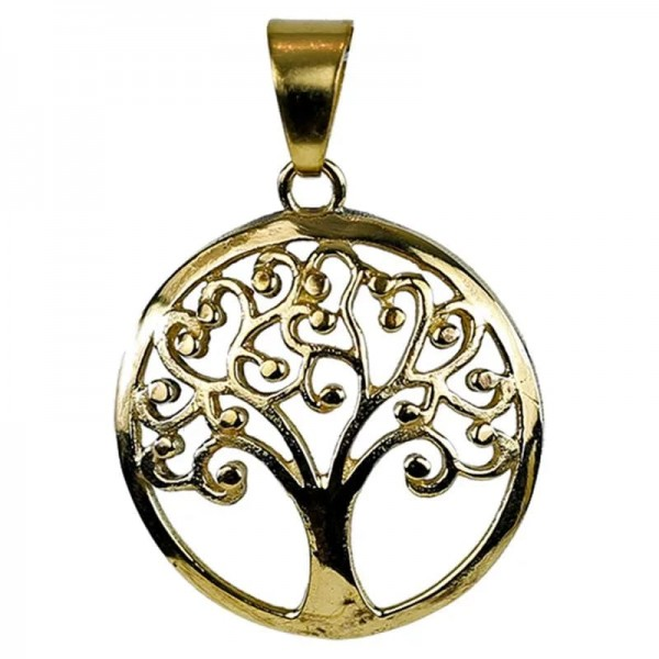 Anhänger Tree of Life Messing goldfarbig -- 3 cm